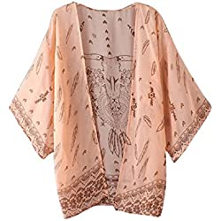 Tongshi Las mujeres de Boho impresa floja de la gasa del mantón kimono Cardigan Tops Cubrir la blusa