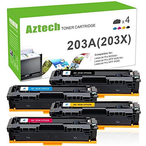 Aztech 4 Pack Kompatibel für HP 203X 203A CF540X CF540A CF541A CF542A CF543A Toner für HP Color Laserjet Pro MFP M281fdw M254dw Toner Schwarz HP Laserjet M281fdw M280nw M281fdn M254nw M254dw M281 M254 -