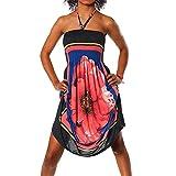 H112 Damen Sommer Aztec Bandeau Bunt Tuch Kleid Tuchkleid Strandkleid Neckholder, Farben:F-020 Rot;Größen:Einheitsgröße