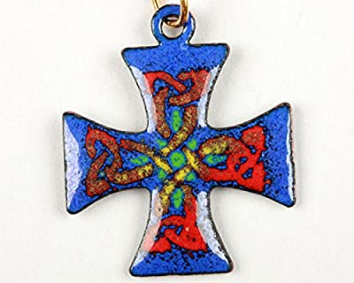 Pendentif croix Malte rouge émail sur cuivre