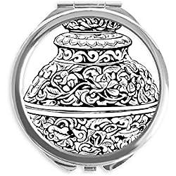 DIYthinker Chinesische Kultur Qing-Dynastie Vase Linie Spiegel Runde bewegliche Handtasche Make-up 2.6 Zoll x 2.4 Zoll x 0.3 Zoll Mehrfarbig