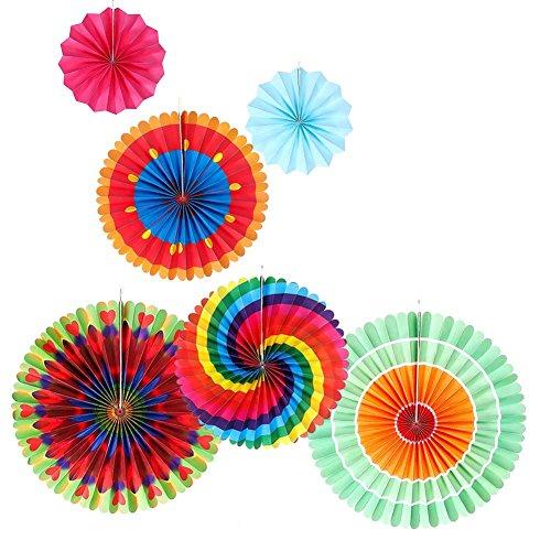 (yovvin 6pcs Fiesta Party Dekoration Papier Fans Muster hängende Dekoration Supplies Colorful rund, für Geburtstag Hochzeit Baby Dusche Weihnachten Halloween Party 3 sizes Colorfulh09)