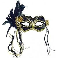 Maschera Occhi Travestimento con Decorazione Metallizzata in Nero con Piume Laterali - Piuma Maschera Di Halloween Costume