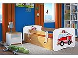 Kocot Kids Kinderbett Jugendbett 70x140 80x160 80x180 Buche mit Rausfallschutz Matratze Schubalde und Lattenrost Kinderbetten für Mädchen und Junge - Feuerwehr 180 cm