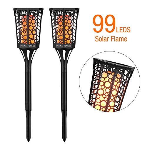[Lot de 2] Torche de Jardin à LED, Zanflare 99 LEDs Lampe Solaire Imperméable sans Fil avec 3 Modes, Parfait pour Jardin, Patio, Allées et Terrasses, Entrées de Garage