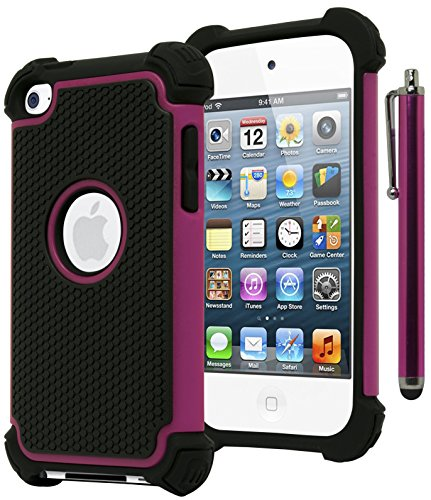 Bastex Hybrid Armor Hülle für Apple iPod Touch 4, 4. Generation - Hot Pink + blackincludes Stylus -