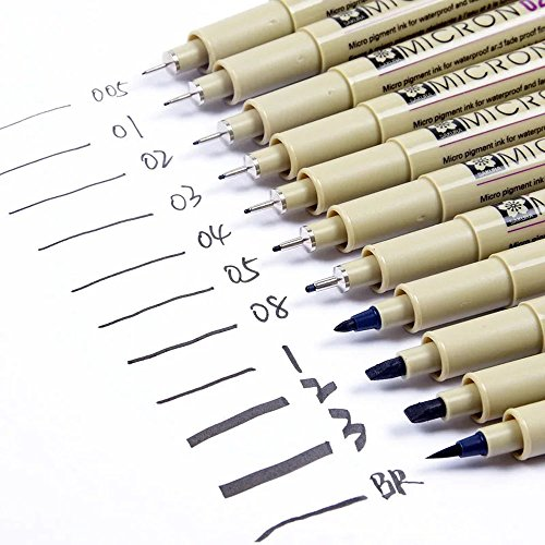 11er Set Sakura Pigma Stifte: 7 Pigma Micron, 3 Graphic & 1 Brush sortiert, schwarz (Sakura Pigma Pen Micron)