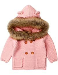 Boomboom Baby Girls' Coats Cool Style Warm Collar Hooded Knitted Sweather Coats