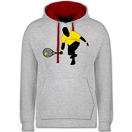 Tennis - Tennis Squash Kniend - Kontrast Hoodie Grau Meliert/Rot