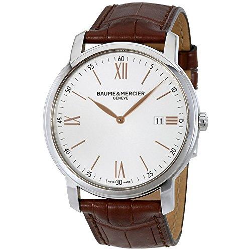 new-mens-baume-mercier-classima-silver-brown-42mm-quartz-watch-moa10144-10144-by-baume-mercier