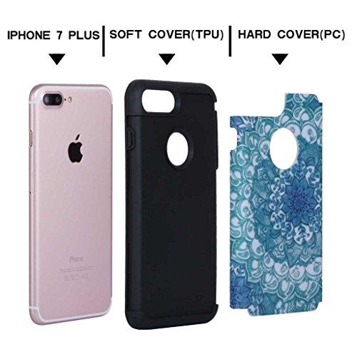 Custodia Iphone 7, con protezione per lo schermo in vetro temperato], boxtii® Morbido TPU + PC cover rigida, antigraffio assorbimento degli urti 2in 1Cover Posteriore Protettiva Per Apple iPhone 7,  #1 Blue