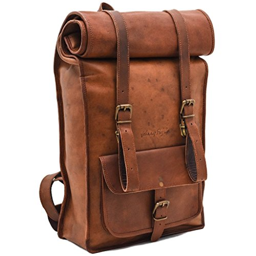 JohnnyFly Rolltop Backpack - Chemical Free Leather - Leder-rolled Strap