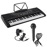 Blackpoolal Piano Digital de Múltiples Funciones Órgano Electrónico con Soporte de Micrófono Equipo Musical Herramienta de Tipo de Enseñanza Enchufe de la UE