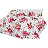 Shopbite Cotton Gold Red Flowers Print Double Bed Reversible AC Blanket | Dohar | Quilt | Comforter | Duvet (Polycotton, Multicolor)