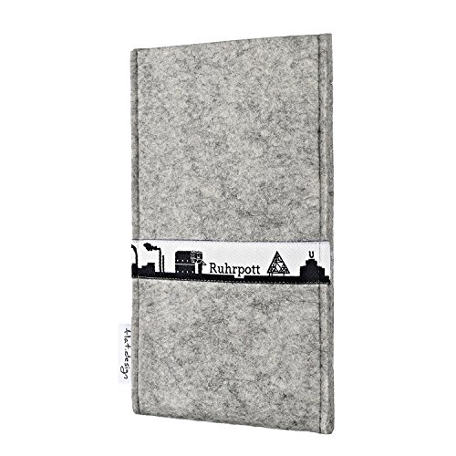 flat.design Handytasche SKYLINE mit Webband Ruhrpott für Apple iPhone 8 Plus - hochwertige Filzhülle aus 100% Wollfilz (anthrazit) - Case made in Germany für Apple iPhone 8 Plus hellgrau