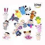 OFKPO 16 Stücke Fingerpuppen Set,Kinder/Baby Lernspielzeug,Einschließlich 10 Stück Tiere und 6 Stück Family Members