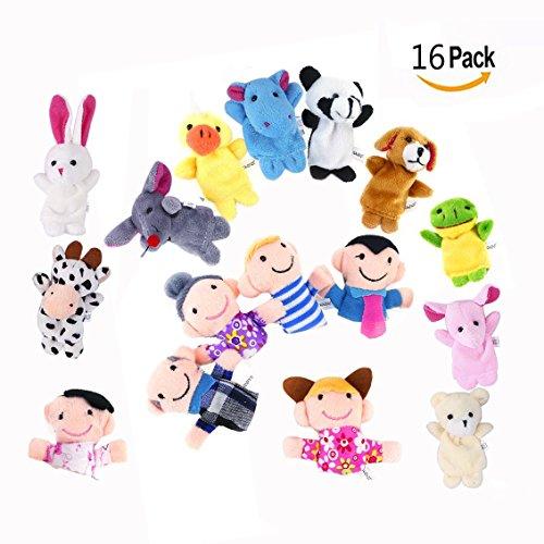 OFKPO 16pcs títeres de dedo - Marionetas de animales bebé surtidas