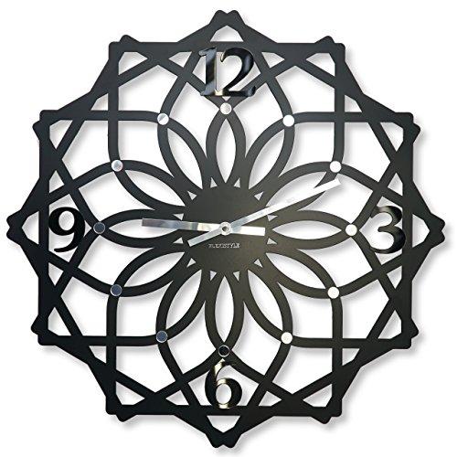 Grande horloge murale Sottile silencieux non coutil, ovale, 50 cm, métal, salon chambre