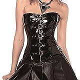 WONDER BEAUTY Sexy PVC Leder Schwarz Wetlook Punk Corsage Vollbrust Schnürung Korsett Top mit G-String S