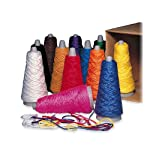 This value assortment carton of arts and crafts yarn includes 2-oz. double weight yarn cones ideal for rug making, weaving, knitting and more. Colors include white, dark brown, red, yellow, yellow-orange, orange, green, blue, blue-violet, pink, black...