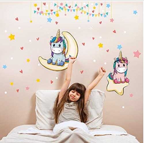 floolter Cute Cartoon Unicorn and Stars Wall Sticker for Living Room Bedroom Nursery Decor Wallpaper DIY Self-Adhesive Mural Decals