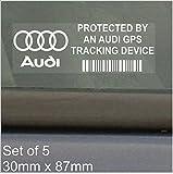 5 x AUDI GPS/GPRS-Ortung Sicherheit Fenstertattoo 87 x 30 mm, R8, A4, TT, A8, A3, A5, S5, RS RS 4, 6, S4, A6, Auto, Van, Alarm, Tracker