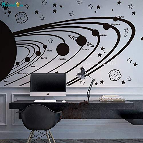 zhuziji Solar System Vinyl Wandtattoos Für Kinder Astronomie Kindergarten Sterne Planeten Weltraum Dekor Selbstklebende Poster Geheimnisvolle 150x70 cm