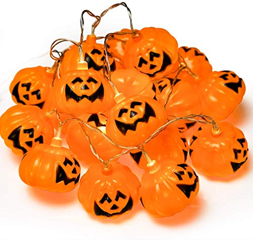 Halloween Kürbis Lichter Laternen, 20 LED 6,9 Fuß Batteriebetriebene Kürbis Lichterketten 3D Jack o Lantern Halloween Kürbis Lichter Dekor für Indoor Outdoor Party Ideen, Orange ()