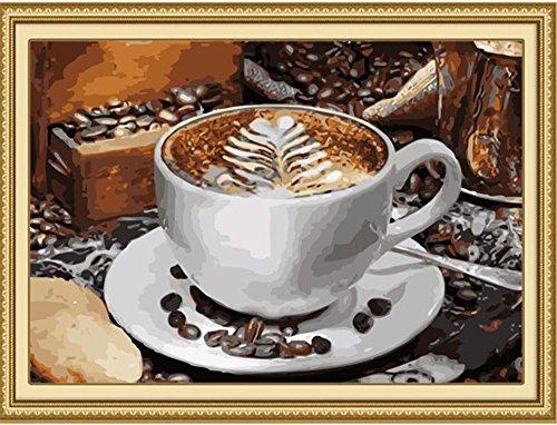 DIY Öl Malen nach Zahlen Kit für Erwachsene Anfänger 40,6x 50,8cm–Kaffee, Zeichnen mit Pinsel Weihnachten Decor Dekorationen Geschenke Without Frame