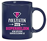 Geburtstags,- Jubiläums,- Ausbildungsgeschenk Kaffeetasse Kaffeebecher Polizistin - Superheldin, Größe: onesize,blau