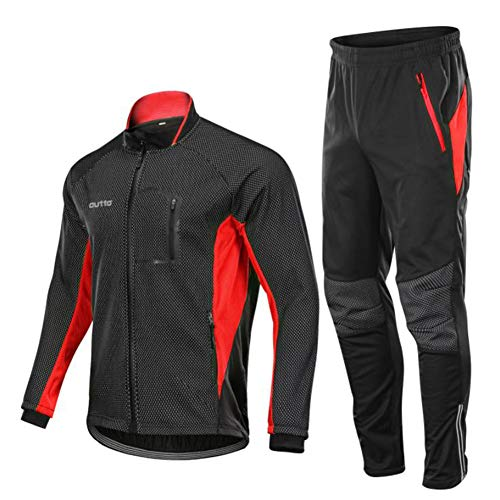 Herren Radfahren Anzug Winter Herren-Bekleidung Atmungsfähig Leicht Radfahren Kleidung Warme Thermalwasserbeständig MTB Mountain Bike Jacke,Rot,XXXXL