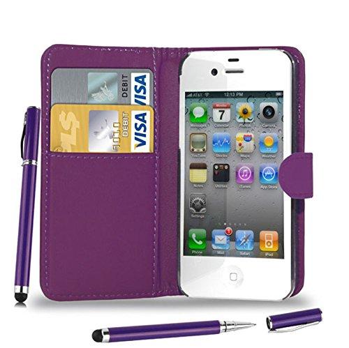 Apple iPhone 4S/4 - Leder Brieftasche Tasche Buch + 2 in 1 Stylus Pen + Screen Protector & Poliertuch ( Blue ) Dark Purple