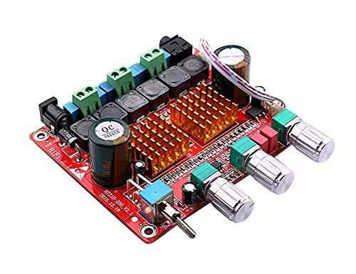 Yeeco 100W 2x50W Drei-Kanal Hallo-Fi-Class-D-Audio-Stereo-Endstufe Auto AMP-Modul mit DC12-24V Stromversorgung und MP3-Decodierung Board / Lüfter / 3,5 mm Audio-Ausgang Anschluss-Ports
