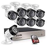 ZOSI CCTV Sistema de Seguridad 8 Canales DVR con 8 1080P Cámaras de Vigilancia Grabador de Video con 2TB Disco Duro