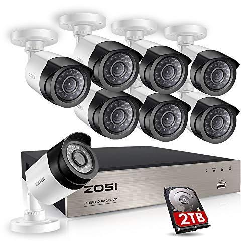 ZOSI CCTV HD 1080P Video Überwachungskamera System 8CH TVI DVR Recorder 8 x Außen Wetterfest 1080P Überwachungskamera Haus Sicherheitssystem, 20M IR Nachtsicht, 2TB Festplatte - Dvr Security System