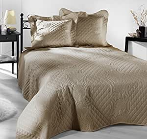 style decor bed b nocturne jet de lit beige taupe 230 x 250 cm cuisine maison. Black Bedroom Furniture Sets. Home Design Ideas