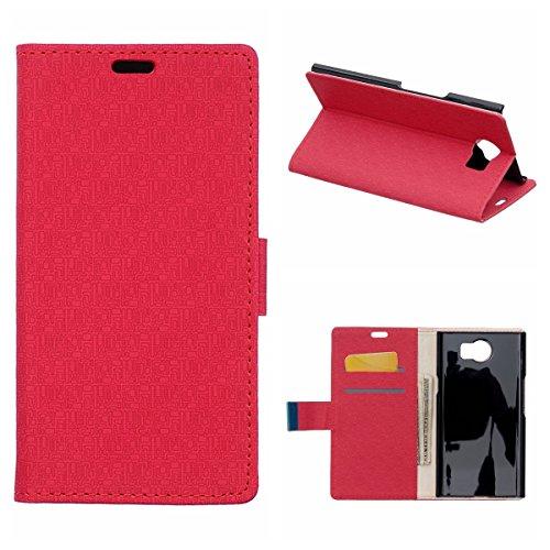 MOONCASE Etui für BlackBerry Priv Leder Tasche Flip Schutzhülle Etui Hülle Schale Case Cover Rot