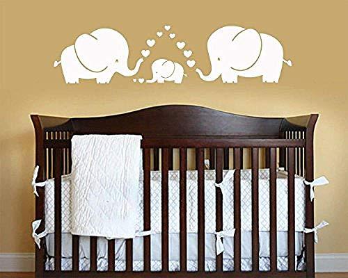 Elefanten Eltern und Kinder Familie und Herz Baby Kinderzimmer Dekoration Kinderzimmer weiß, großWandaufkleber Wand-Aufkleber Fototapete Wandtattoo Wanddekoration - Vinyl Jalousie Weiss