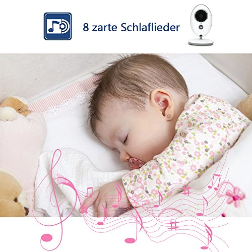 "Babyphone 2.4 GHz Baby monitor 2.4"" HD Digital  Video Babykamera Mit VOX Funktion Wireless Weiß - 6"
