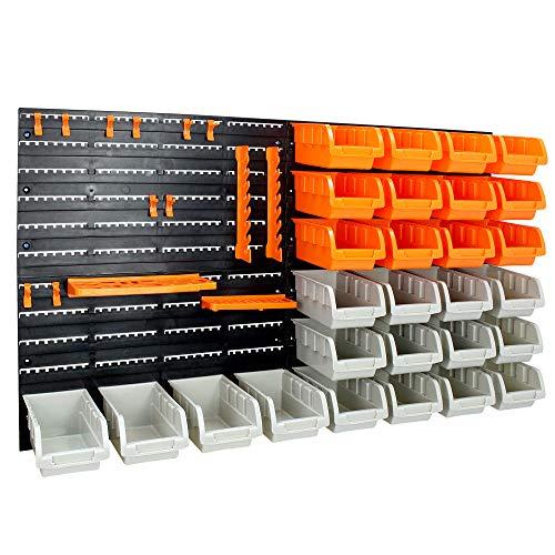 Sotech - Panneau Perforé, Lot de 46 Ensemble Casiers de Rangement et Crochets avec Panneaux Muraux, porte-outils, 96 x 54 cm