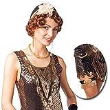 Charleston Accessoires mit Hut, Ohrringen, Kette, Armband u. Strumpfband Goldene Zwanziger Kostümset Flapper Kostüm Zubehör Gatsby Style 20er Jahre Set
