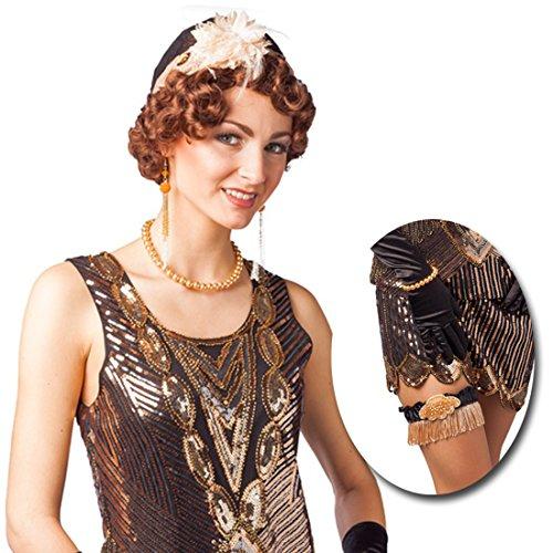 Flapper Kostüm Hut - Charleston Accessoires mit Hut, Ohrringen, Kette, Armband u. Strumpfband Goldene Zwanziger Kostümset Flapper Kostüm Zubehör Gatsby Style 20er Jahre Set