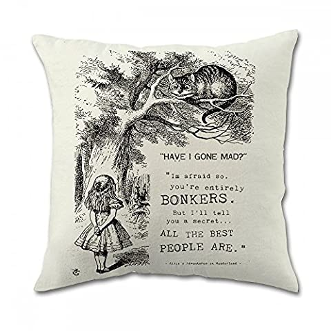 Alice in Wonderland Cotton Square Pillow Covers (18x18 Inch Twin Side) By Lz Pillow