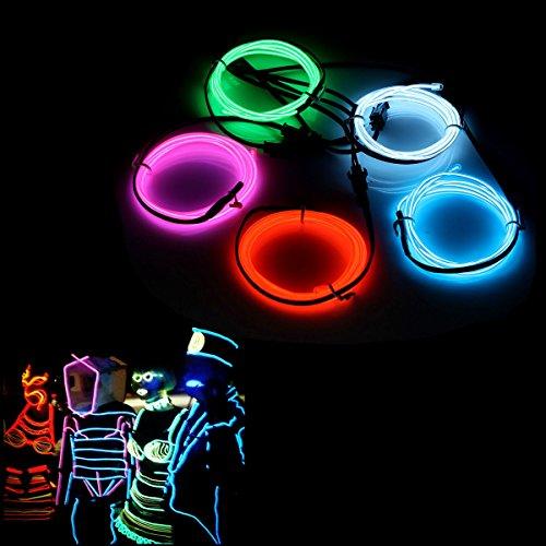 AUDEW 5x 1m Fünf Farben EL Wire Leuchtschnur EL Kabel Lichtschnur Band Lichtschlauch Leucht Schnüre Neon Draht Light Lampe Beleuchtung Leuchtschnur Lichtband Lichtleiste Streifen für Weihnachtsfeiern Disco Party Kinder Halloween Kostüm Kleidung +Batterie Box