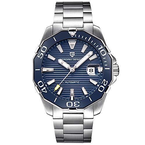 Pagani Design Herren Klassische Taucher-Serie Mechanische Uhren Wasserdicht Edelstahl Marke Luxus Armbanduhr Herren - blau