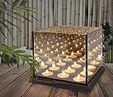 Teelichthalter für 9 Teelichter mit Endless Light / magischer Kerzenschein / verspiegelte Glaswand / Trendyshop365