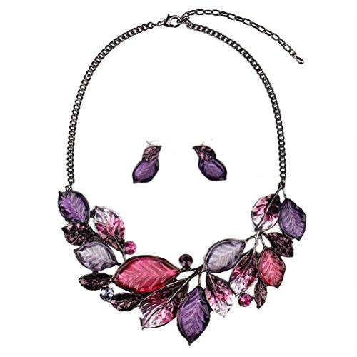 SunIfSnow donna, stile vintage, foglie, modello & 2 collane e orecchini, Lega, colore: viola, cod. 2016071116