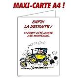 Glmx-2030 Grande Carte Départ en Retraite Gaston Lagaffe - Maxi Format Géant A4 avec Enveloppe - Voiture...