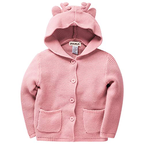 Zoerea Baby Mädchen Strickjacke Cardigan Pullover mit Elk Ohr Hoodies Neugeborenes Kleinkind Langarm Taste Baumwolle Mantel (Rosa, Höhe 80~90cm) -