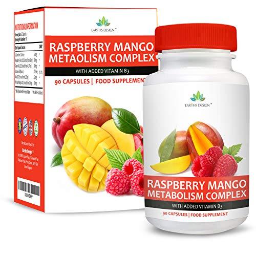 Himbeer Mango Komplex mit Afrikanische Mango, Himbeer Ketone, Grüne Kaffeebohne, Konjak, Açaifrucht und Vitamin B3 - Für Männer & Frauen - 90 Kapseln von Earths Design